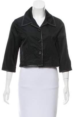 Prada Sport Leather-Trimmed Cropped Jacket