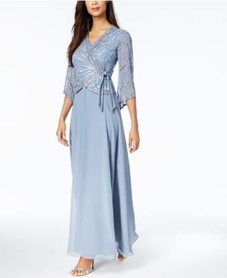 J Kara 3/4-Sleeve Beaded Wrap Gown