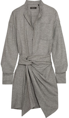 Isabel Marant - Khol Wrap-effect Woven Mini Dress - Gray $710 thestylecure.com