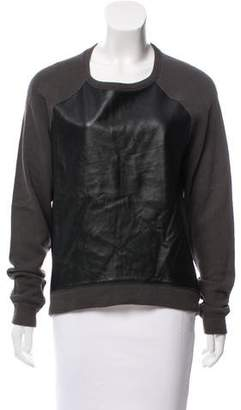 R 13 Faux Leather Crew Neck Sweater