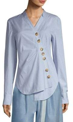 Tibi Jones Striped Asymmetrical Shirt