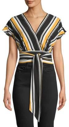 Parker Noora Striped Tie-Front Crop Top