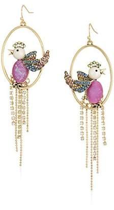 Betsey Johnson Womens Blooming Betsey Bird Cage Orbital Drop Earrings