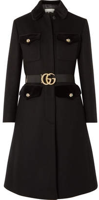 Gucci Belted Velvet-trimmed Wool-blend Felt Coat - Black
