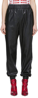 MSGM Black Faux Leather Lounge Pants