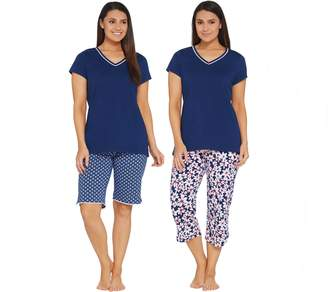 Carole Hochman Floral Blossoms Cotton Jersey 3-Piece Pajama Set