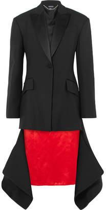 Alexander McQueen Asymmetric Satin-trimmed Wool-blend Jacket - Black