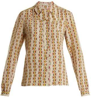 Etro Tie Neck Crescent Print Silk Shirt - Womens - Yellow Print