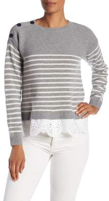 Joie Aefre Wool & Cashmere Blend Eyelet Lace Trimmed Stripe Sweater