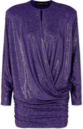 Alexandre Vauthier Draped Crystal-embellished Stretch-georgette Mini Dress - Purple