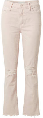 Mother The Rascal Cropped Distressed High-rise Slim-leg Jeans - Pastel pink