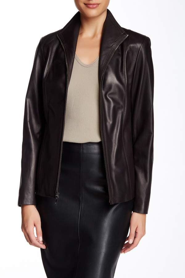 Cole Haan  Cole Haan Flap Collar Genuine Leather Jacket