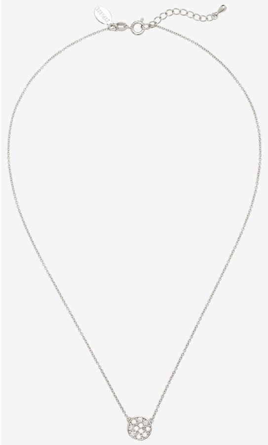Express Pave Cubic Zirconia Disc Necklace