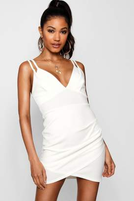boohoo Strappy Wrap Skirt Micro Mini Dress