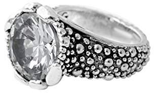 King Baby Studio Women's 925 Sterling Silver 15mm Round Clear Cubic Zirconia Stingray Texture Ring - Size N