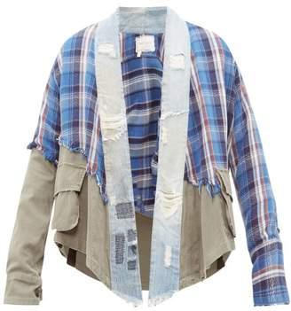 Greg Lauren Deconstructed Denim And Tartan Shirt - Mens - Blue Multi