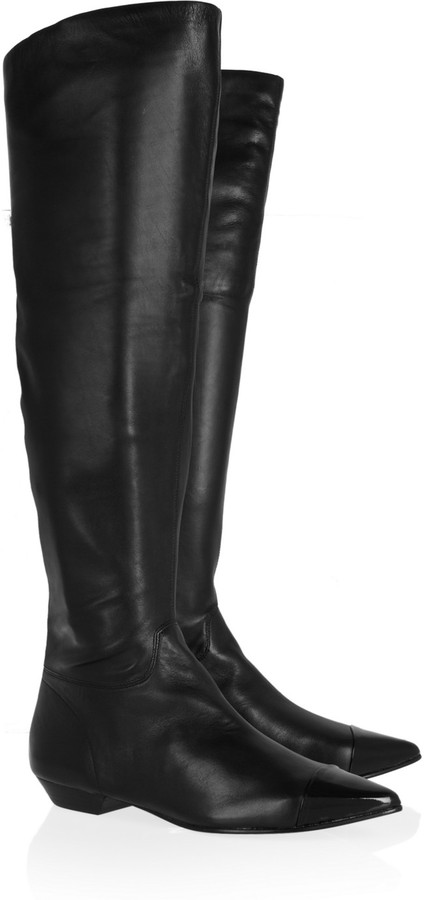 Sigerson Morrison Belle Patent leather-paneled leather knee boots