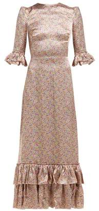 The Vampire's Wife Cinderella Floral Print Silk Satin Maxi Dress - Womens - Pink Print