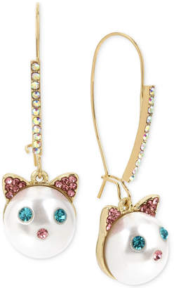 Betsey Johnson Gold-Tone Pave & Imitation Pearl Cat Face Drop Earrings