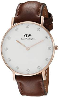 Daniel Wellington Women's Quartz Watch with White Dial Analogue Display and Brown Leather Strap 0950DW