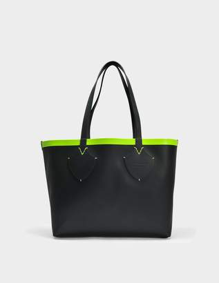 Burberry Medium Check Tote Bag in Black and Neon Yellow Canvas and Calfskin