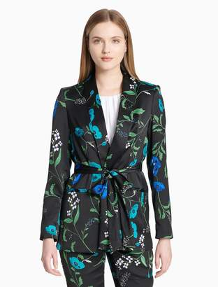 Calvin Klein floral print shawl collar belted jacket
