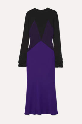 Haider Ackermann Color-block Paneled Silk-satin And Knitted Midi Dress - Purple