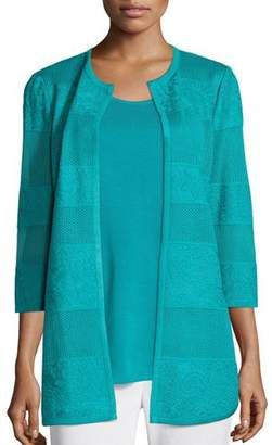 Misook Textured Lines Long Jacket, Turquoise, Petite