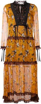 Coach floral long-sleeve flared dress
