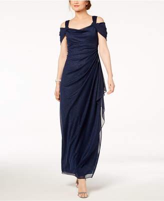Alex Evenings Cold-Shoulder Draped Metallic Gown, Regular & Petite