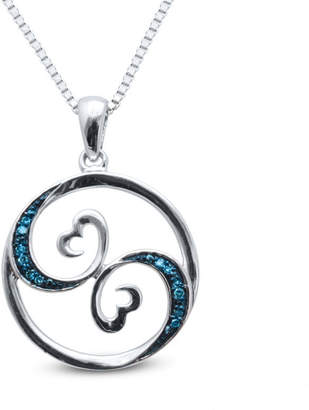 Zales Open Hearts Waves by Jane Seymoura Enhanced Blue Diamond Accent Circle Pendant in Sterling Silver