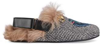 Gucci Horsebit herringbone slipper with wolf head