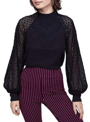 Free People Sweetest Thing Lace Balloon-Sleeve Sweater