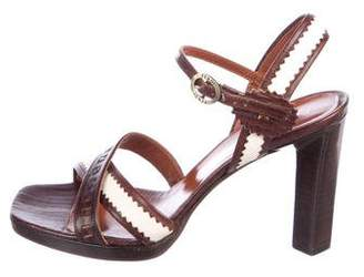 Fendi Leather Ankle Strap Sandals
