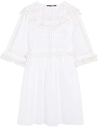 McQ Alexander McQueen - Ruffled Point D'esprit-paneled Cotton Mini Dress - White $545 thestylecure.com