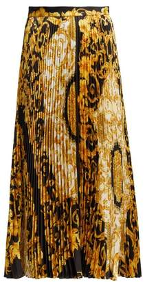 Versace Hibiscus Print Pleated Silk Skirt - Womens - Gold Multi