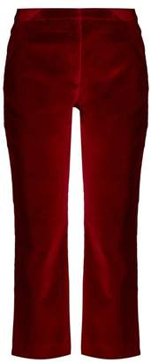 Altuzarra Nettie Cropped Kick Flare Velvet Trousers - Womens - Burgundy