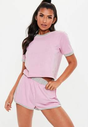 Missguided Pink Contrast Binding Racer Shorts Pyjama Set