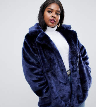 Glamorous Curve relaxed coat in faux fur