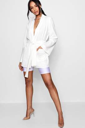 boohoo Lola Belted Oversized Pocket Blazer