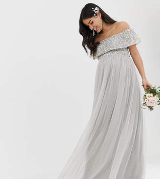 Maya Maternity Bridesmaid bardot maxi tulle dress with tonal delicate sequins in soft grey