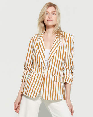 Lush Ruched Sleeve Striped Blazer