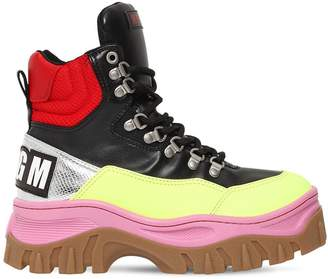 MSGM 40mm Faux Leather High Top Sneakers