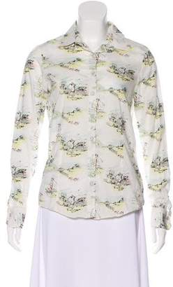 Brooks Brothers Printed Button-Up Top