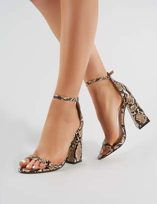 585ccd8ab784 Public Desire Tess Block Heels in Faux Natural Snakeskin
