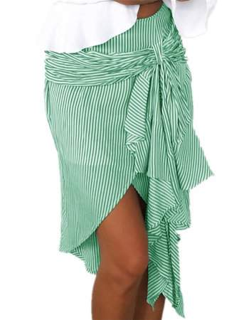 Sibylla SIBYLLA Women Irregular Striped Tie Bowknot Casual Mini Skirt