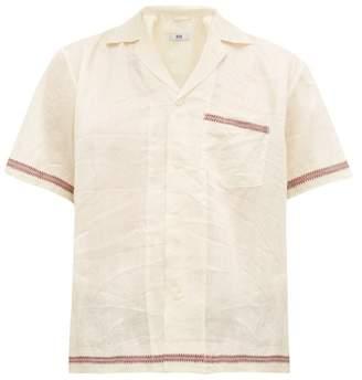 Bode - Jacquard Trim Silk Shirt - Mens - Cream Multi