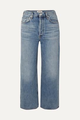 A Gold E AGOLDE - Ren Cropped High-rise Wide-leg Jeans - Mid denim