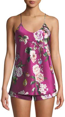 Olivia Von Halle Bella Marple Floral Silk Short Pajama Set