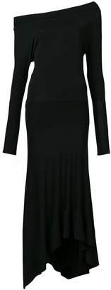 Paco Rabanne asymmetric off-the-shoulder midi dress